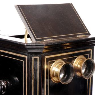 Exceptionnelle visionneuse stéréoscopique de parquet Napoléon III