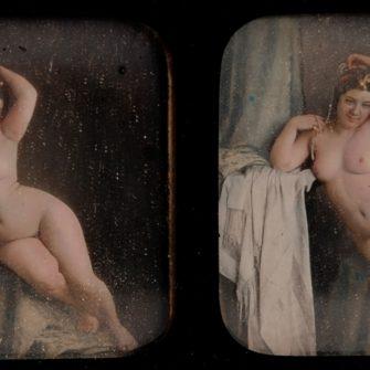 Daguerréotype stéréo. Nu Féminin.