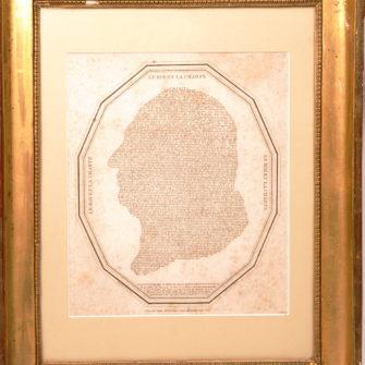 Profil de Louis XVIII, formé par le texte de la charte constitutionnel