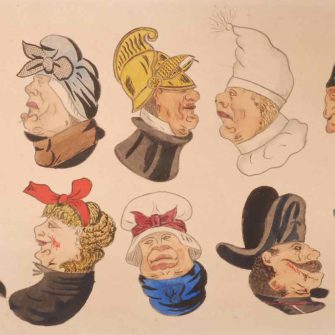 Reversable Heads. Watercolour. Attributed to Jean Kehror