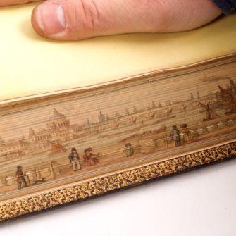 A fore-edge painting (tranche d'un livre peinte)