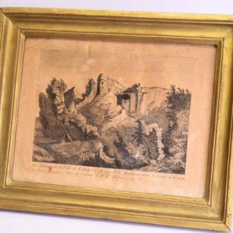 Gravure du château de la ville de Papa dessin séditieux
