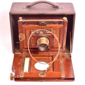 Folding camera 13×18 cm en bois et cuir