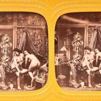 """Vue stéréoscopique de nu """"E.L."""" vers 1860"""