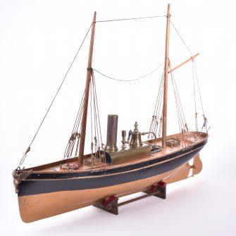 Bateau Radiguet, bateau civil à deux mâts grées. 55 cm.