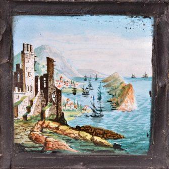 Grande et ancienne plaque de lanterne magique