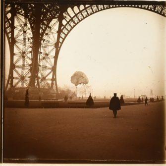Parachute flight under the Eiffel Tower, 1912 (x2)