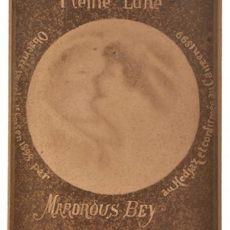 """Carte de cabinet, Mardrous Bey """"Le Baiser dans la Lune"""" Kissing the Moon"""